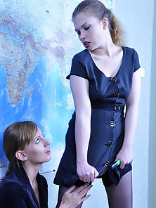 Alana and Rosa Displaying Their Horny Poses Using a Big Long Strap on Dildo