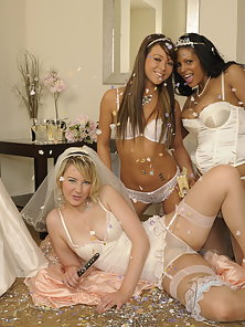 Three Young Cute Brides Making Horny Sex with Each Other