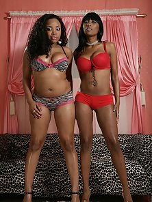 Bikini Ebony Chicks Posing By Standing Together and Vibrating Pussy Dildo Drilling