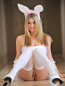 White Dressed Danielle Plays With a Black Dildo in Different Naughty Action