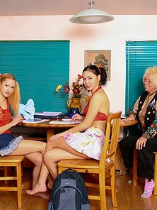 Fabulous Lesbian Babes Takes Their Sex Pleasure In Front Of Lady Porn Teacher