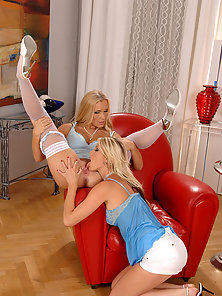Two Extremely Hot Blonde Babes Appreciates Dildo Sucking and Fucking In Room