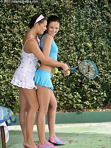 Brunette Sexy Babe Billy, Isabella Naked Action in Tennis Curt