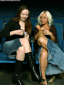Blonde and Brunette Lady Sonya, Skyeler Movie Theater Sex Action