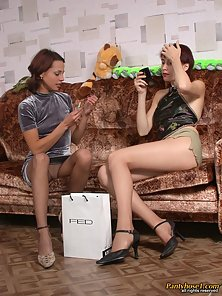 Erotic Lesbians Polina and Inga Kissing and Rubbing Their Hairy Tacos