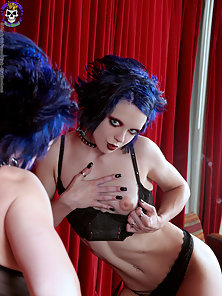 Spooky gothic glam girl strips nude in luxury