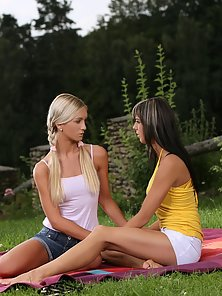 Sexy Pigtail Blonde Babe Mellie Crazily Licking Camie Tight Twat In Outdoor