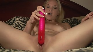 Round Boobs Babe Puts Dildo in Her Shaved Pussy