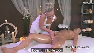 White dressed sexy masseuse naked body massage and twat finger