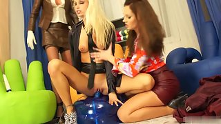 Sizzling clothed sluts get naughty with each other