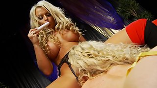 Curly haired chick enjoys dildo fuck with lover