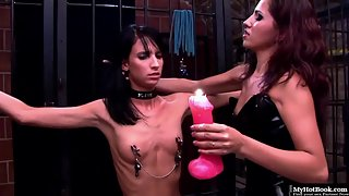 Sizzling Girls Licked Their Shaved Pussies in Bondage Activity