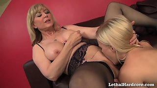 Blonde Babes Twat Licking and Boob Pressing Action