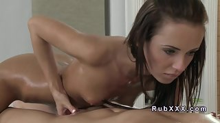 Sexy Two Slim Babes Sensually Massaging Action