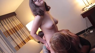 Dp with tits and tongues lesbian threesome.