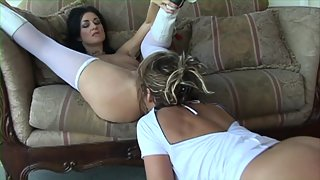 Babes are having some oral sex on the couch