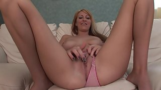 Sizzling Blonde Spreading Legs and Enjoying Solo Masturbation over Bed