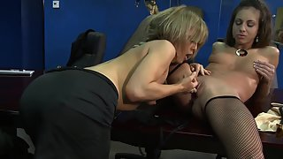 Cute office sluts fucking on the table