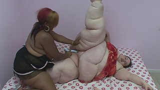 Fatty Matures Pounded by Dildo then Tribbing Cunts on Bed