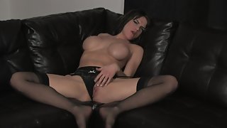 Stocking wearing brunette pleases her tight snatch