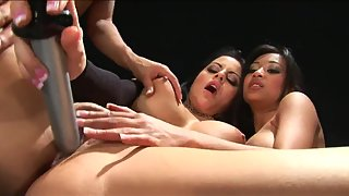 Gorgeous Girls Deeply Nailed by Sex Toys in Three Way Sex