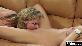 Stunning milf convinces her young neighbor for lesbian sex
